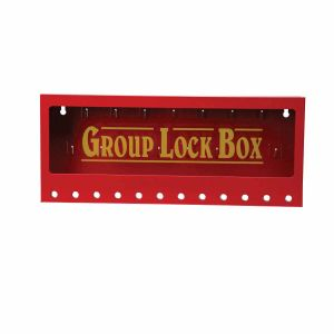 Metal wall-mounted group lockout boxes