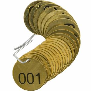 Brass Identification Tags for Valves, embossed with number sequences