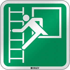 ISO Safety Sign - Emergency window with escape ladder