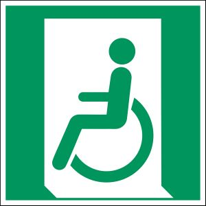 ISO Safety Sign - Emergency exit for people unable to walk or with walking impairment (left)