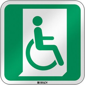 ISO Safety Sign - Emergency exit for people unable to walk or with walking impairment (right)