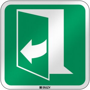 ISO Safety Sign - Door opens by pulling on the right-hand side