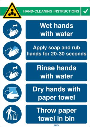 Safety Sign Hand Wash Instructions