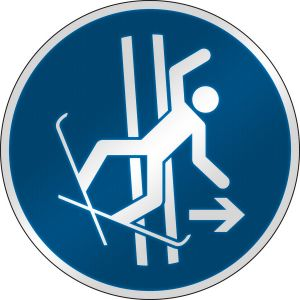 ISO Safety Sign - Immediately leave the tow-track in the event of falling