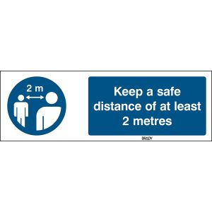 Safety Sign - Keep a safe distance of at least 2 metres