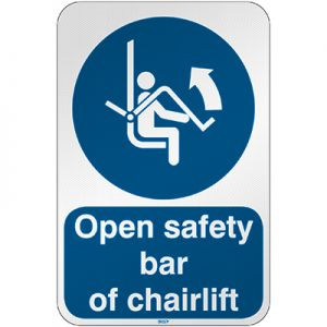 ISO Safety Sign - Open safety bar of chairlift