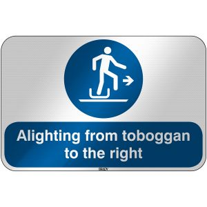 ISO Safety Sign - Alighting from toboggan to the right