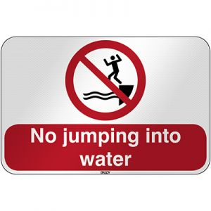 ISO Safety Sign - No jumping into water
