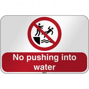 ISO Safety Sign - No pushing into water