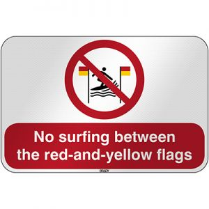 ISO Safety Sign - No surfing between the red-and-yellow flags