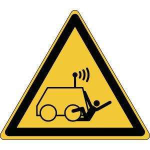 ISO Safety Sign - Warning; Run over by remote operator controlled machine