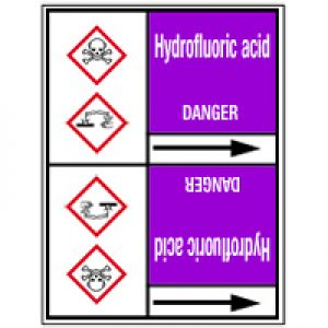 Roll form linerless Pipe Markers, with pictograms - Acids & Alkalis