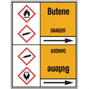 Roll form Pipe Markers with liner, with pictograms - Gas