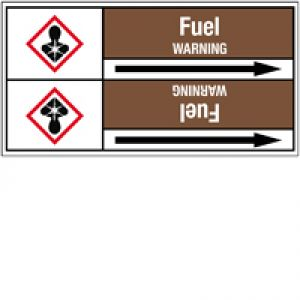 Roll form Pipe Markers with liner, with pictograms - Flammable/Non Flammable Liquids/Oils